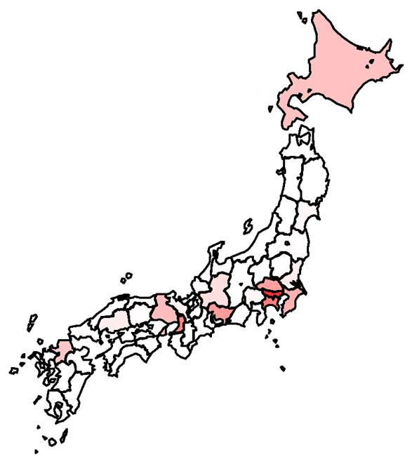 日本 分布 図 コロナ ウイルス